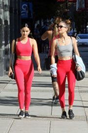 Camila Mendes and Rachel Matthews in Red Outfit - Head to the gym in Vancouver