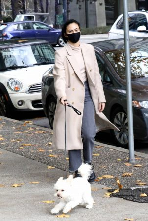 Camila Mendes - Dons stylish while walk with her dog