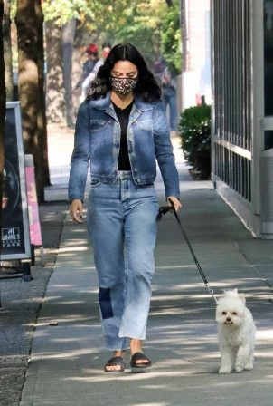 Camila Mendes - Out with her dog Truffle for a walk in Vancouver