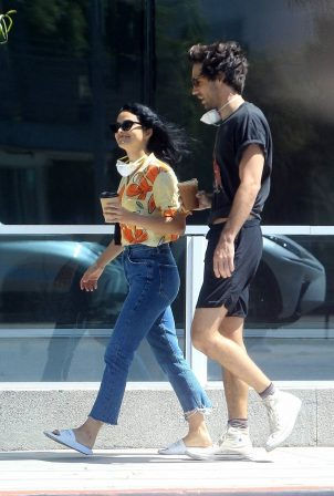 Camila Mendes - Picking up coffee with a friend in Los Angeles