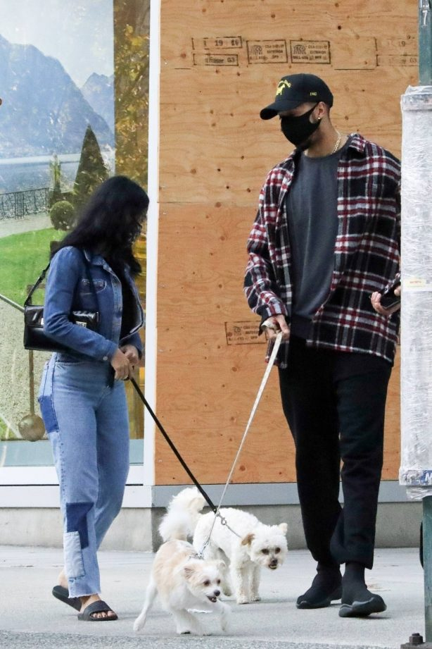 Camila Mendes - takes her dog out for a walk in Vancouver