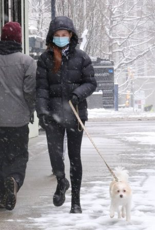 Camila Mendes - While walking dogs in a Vancouver snowstorm