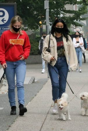 Camila Mendes with Lili Reinhart and Madelaine Petsch - spotted on an dog walk in Vancouver