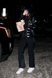 Camila Morrone in Black Outfit - Out in Aspen