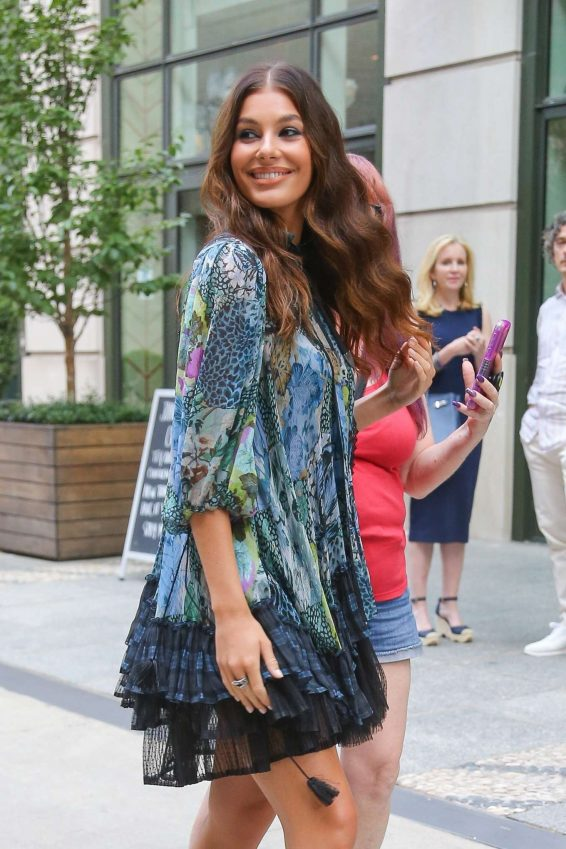 Camila Morrone in Floral Mini Dress - Out in New York