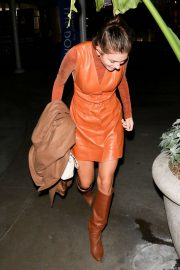 Camila Morrone in Leather Mini Dress and Boots - Out in Los Angeles