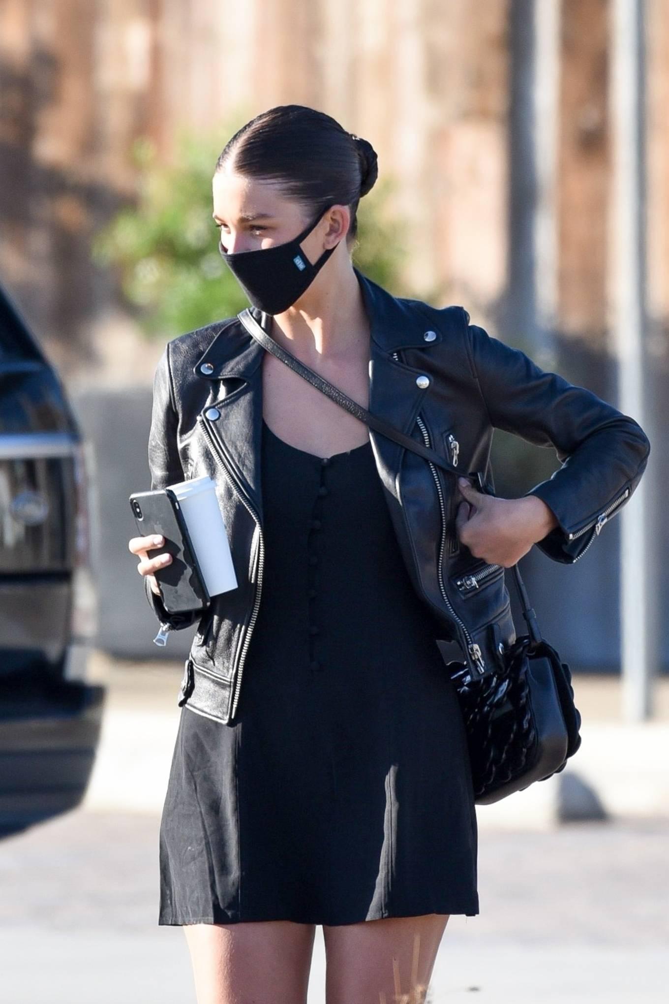 Camila Morrone in Mini Black Dress in Malibu