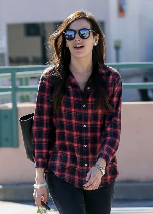 Camilla Belle in a Plaid Shirt out in Beverly Hills