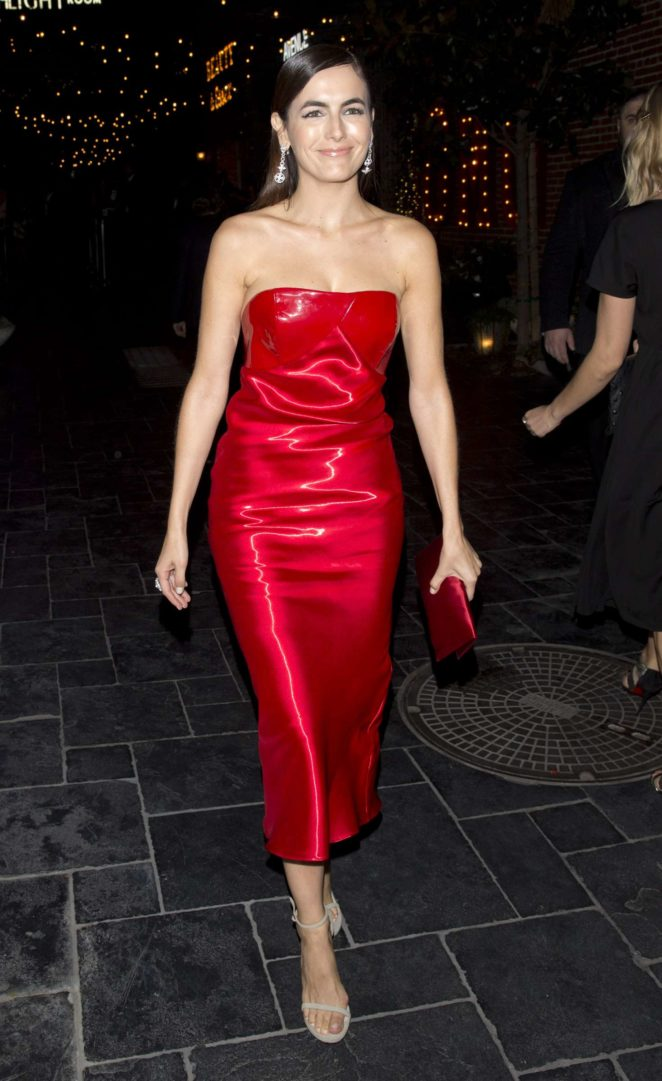 Camilla Belle in Red Dress at Dream Hotel in Hollywood