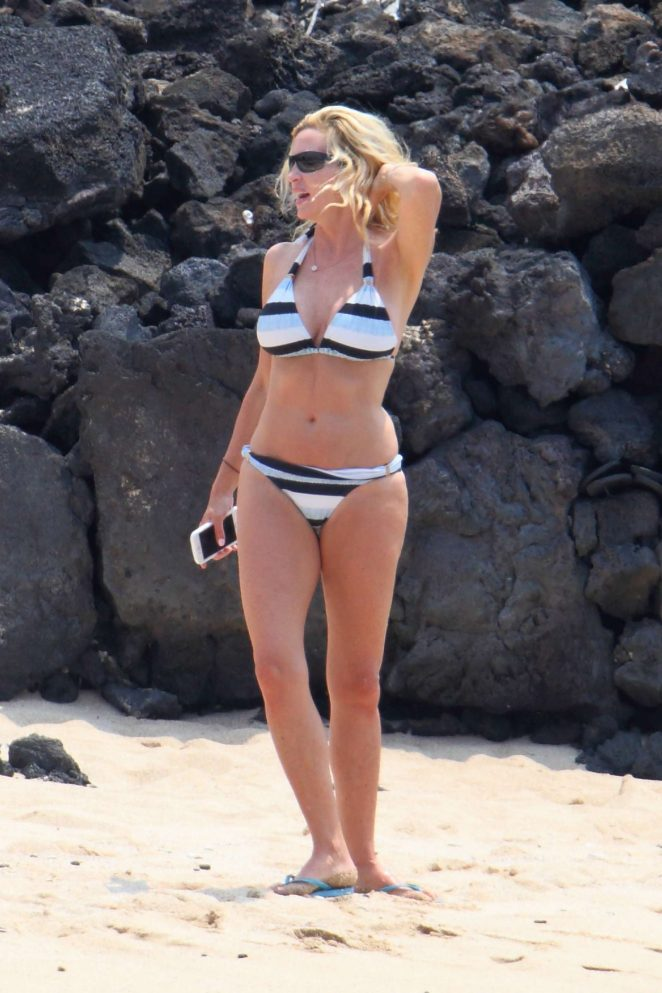 Camille Grammer in Bikini on the beach in Hawaii