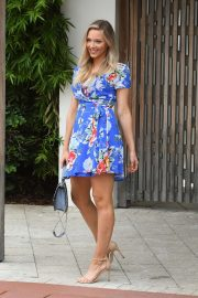 Camille Kostek in Blue Floral Dress - Out in Miami