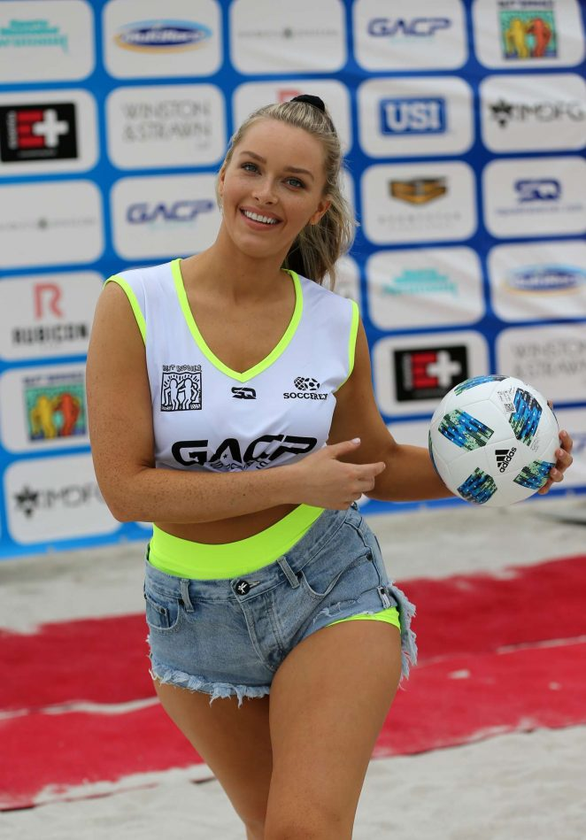 Camille Kostek – Sports Illustrated Swimsuit Celebrity Beach Soccer Match in Miami