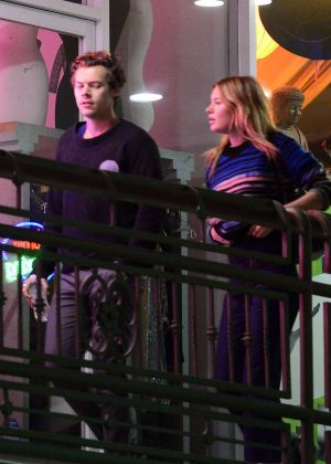 Camille Rowe and Harry Styles - Leaving dinner in Hollywood
