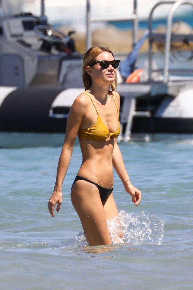 Camille Rowe in Yellow and Black Bikini in