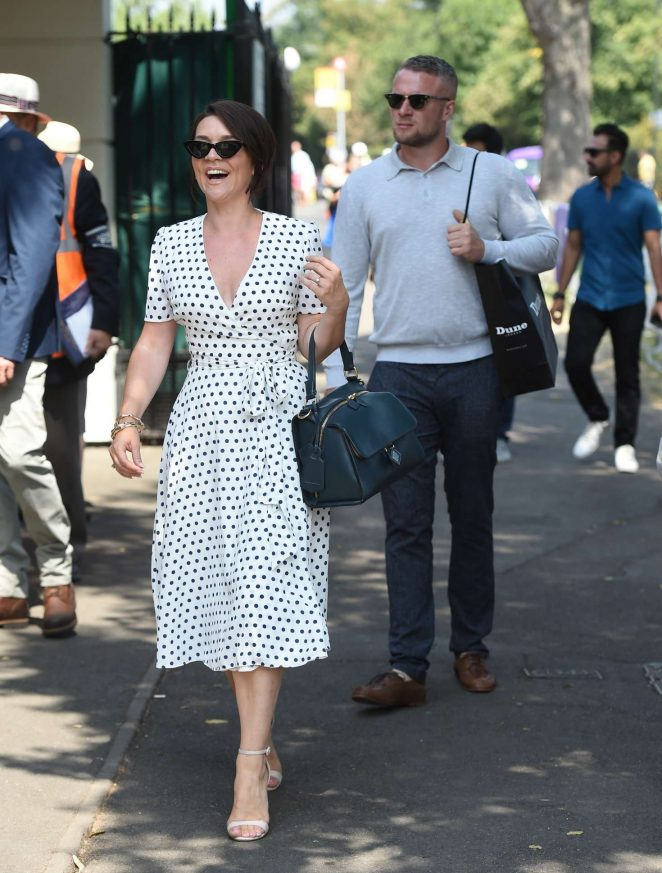 Candice Brown and fiance Liam Macaulay - Arriving at Wimbledon Tennis Tournament in London