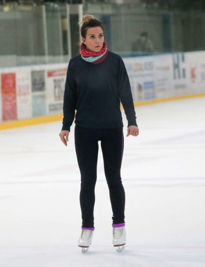 Candice Brown on the ice for 'Dancing On Ice' rehearsals in Essex