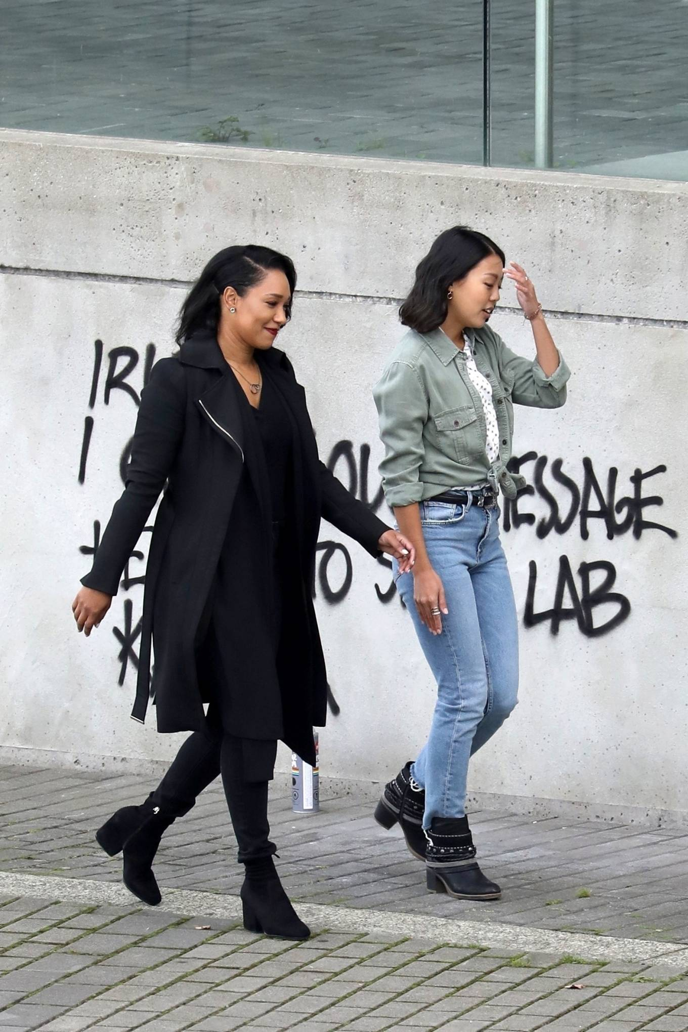 Candice Patton - Filming 'The Flash' season 7 with co-star Victoria Park in Vancouver