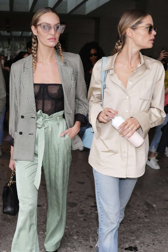 Candice Swanepoel and Doutzen Kroes - Leaving Max Mara Show in Milan