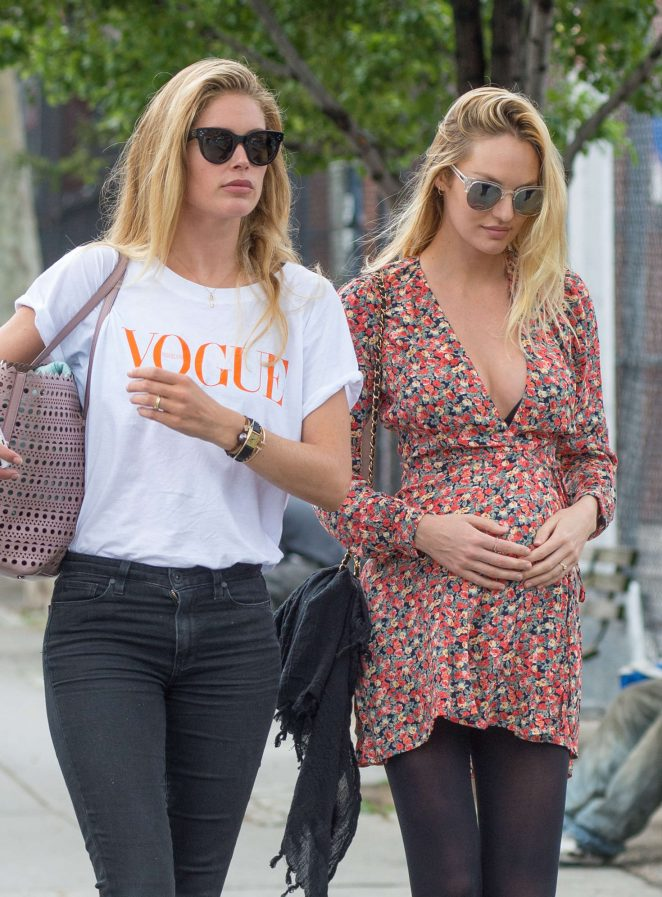 Candice Swanepoel and Doutzen Kroes out in NYC