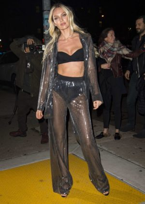 Candice Swanepoel - Arriving at the 2017 VS Fashion Show Viewing Party in NYC