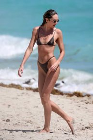Candice Swanepoel in Bikini on the beach in Miami