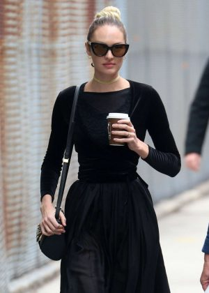 Candice Swanepoel in Black Dress out in New York City