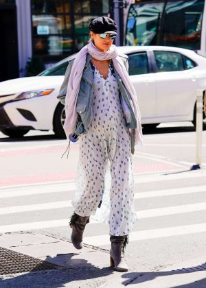 Candice Swanepoel in Jumsuit out in NYC