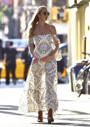 Candice Swanepoel in Long Dress Out in New York City