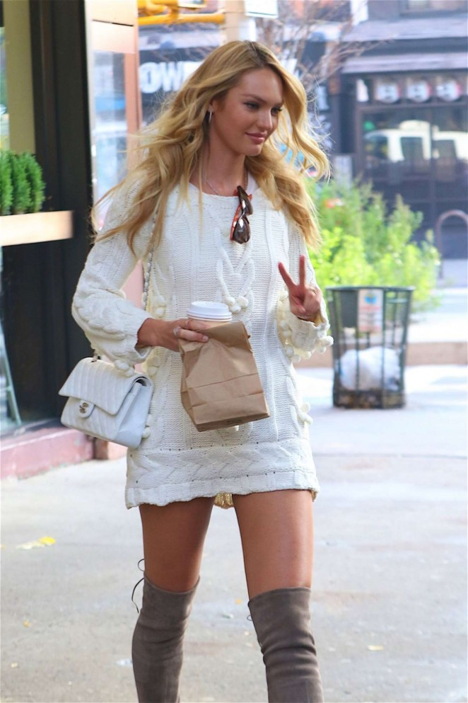 Candice Swanepoel in Mini Dress Out in New York