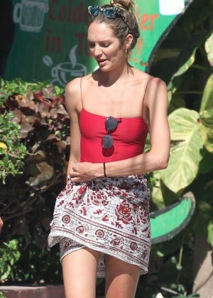 Candice Swanepoel in Mini Skirt - Out in Tulum