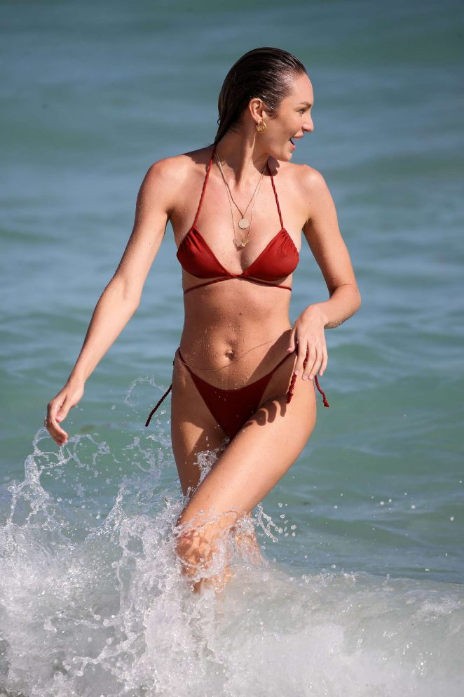 Candice Swanepoel in Red Bikini at the beach in Miami