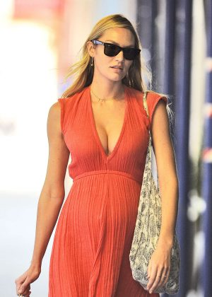 Candice Swanepoel in Red Dress Out shopping in New York