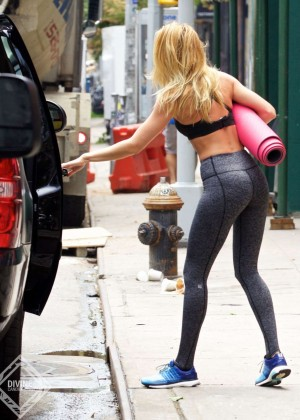 Candice Swanepoel in Tights Leaving ModelFit in NYC