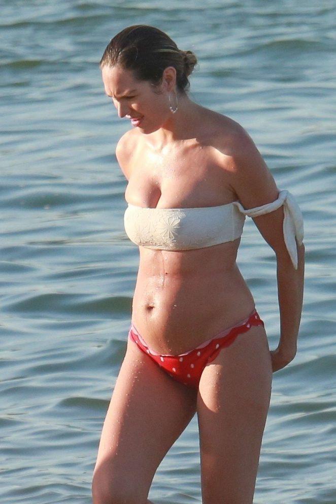 Candice Swanepoel in White and Red Bikini on the beach in Vitoria