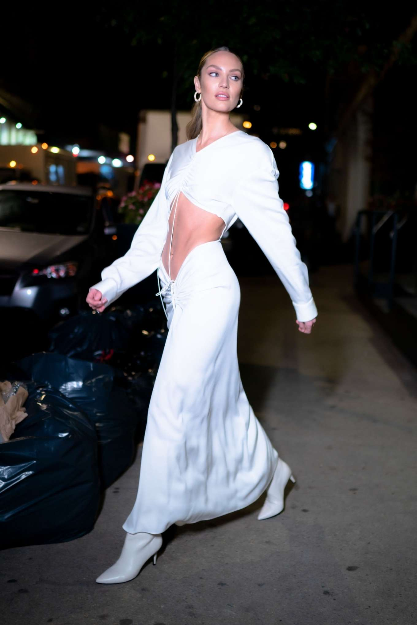 Candice Swanepoel 2019 : Candice Swanepoel in White Dress – Out in NYC-03