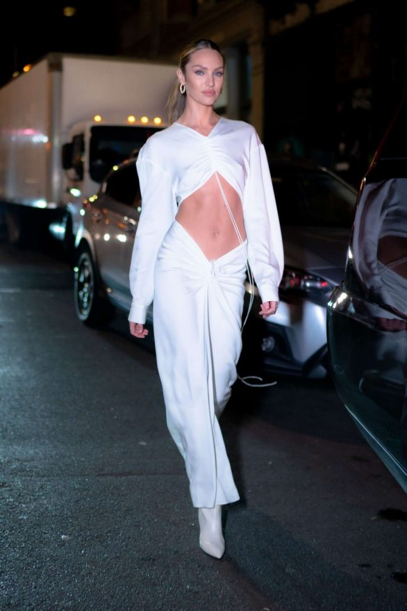 Candice Swanepoel in White Dress - Out in NYC