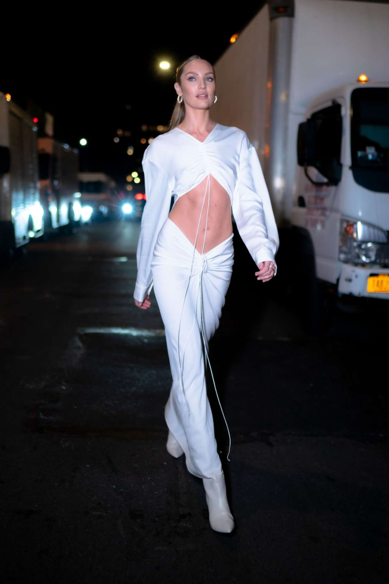 Candice Swanepoel 2019 : Candice Swanepoel in White Dress – Out in NYC-09