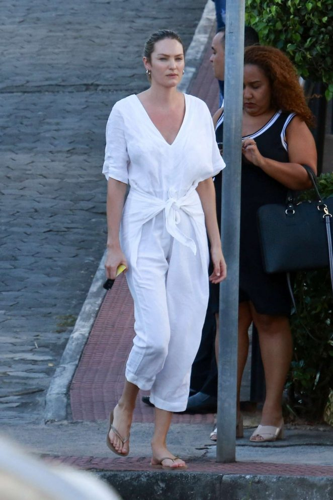 Candice Swanepoel in White Jumpsuit - Out in Brazil