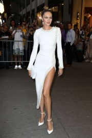 Candice Swanepoel in White Long Dress - Out in New York