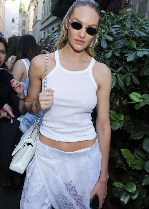 Candice Swanepoel - Leaves Versace Fashion Show in Milan