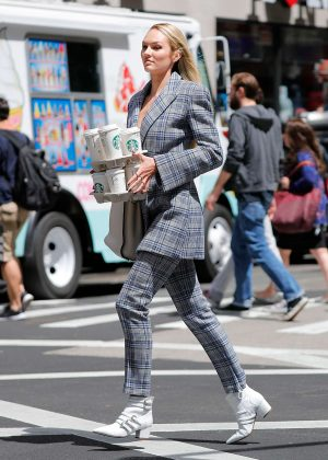 Candice Swanepoel on photoshoot for Vogue in New York City