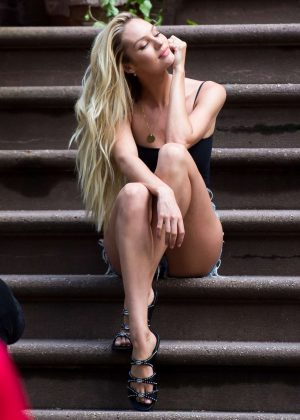 Candice Swanepoel on Victoria's Secret Shoot in NYC