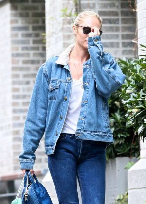 Candice Swanepoel out in the East Village