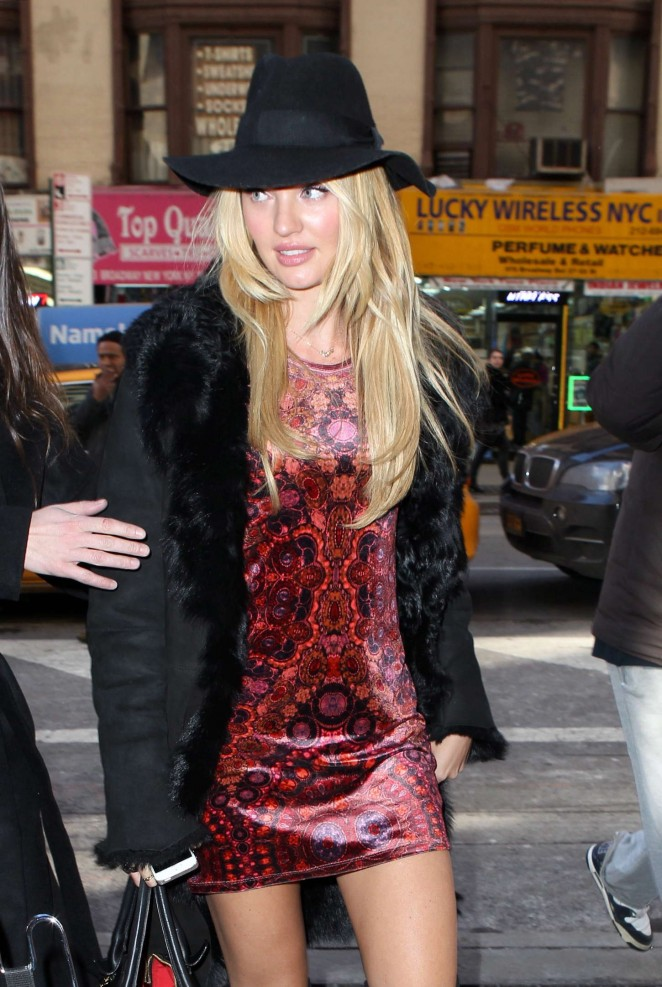 Candice Swanepoel in Mini Dress out in NYC