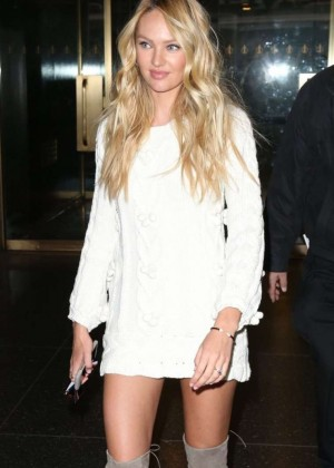Candice Swanepoel in Short Dress Visits 'The Today Show' in NYC