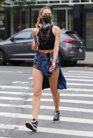 Candice Swanepoel - Wearing shorts during a walk in New York