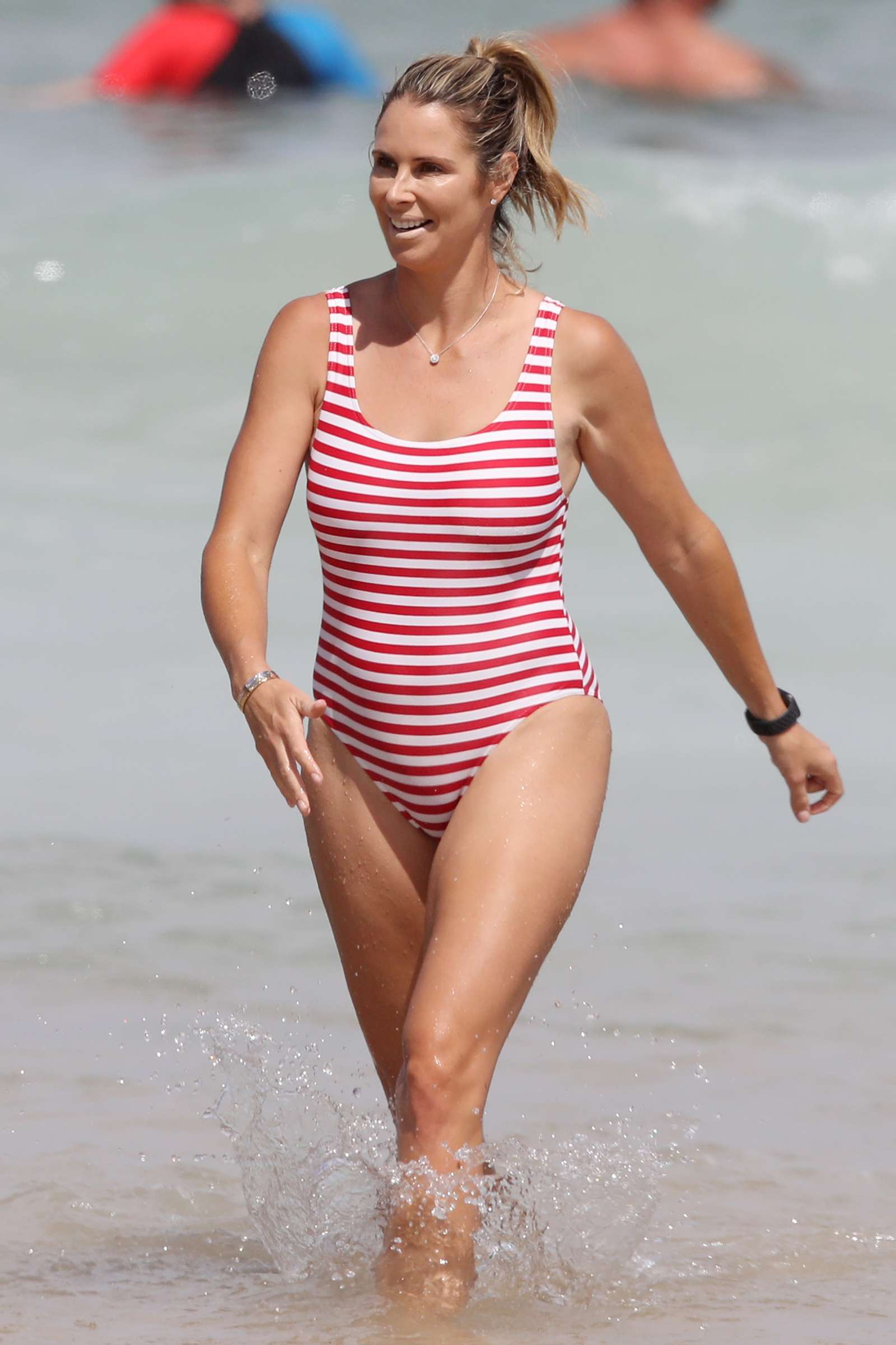 Candice Warner 2019 : Candice Warner in Red and White Swimsuit 2019 -07