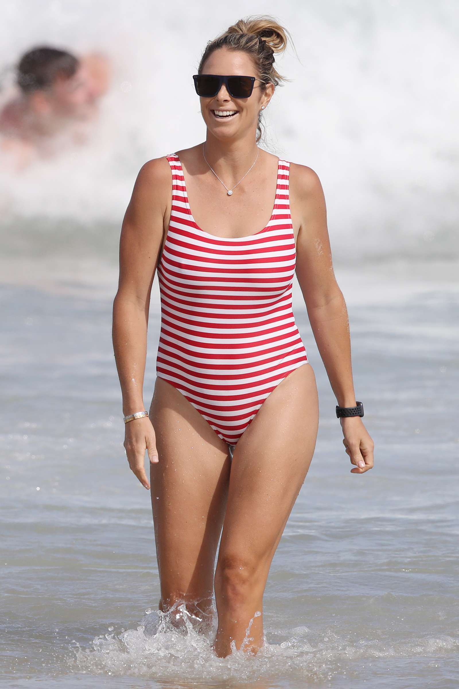 Candice Warner 2019 : Candice Warner in Red and White Swimsuit 2019 -08