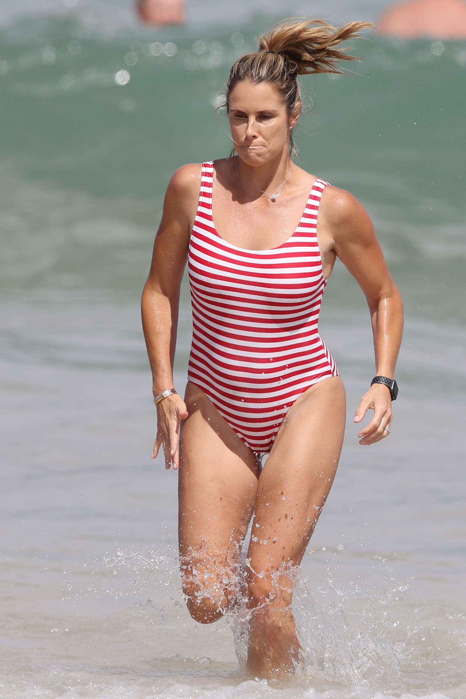 Candice Warner 2019 : Candice Warner in Red and White Swimsuit 2019 -10