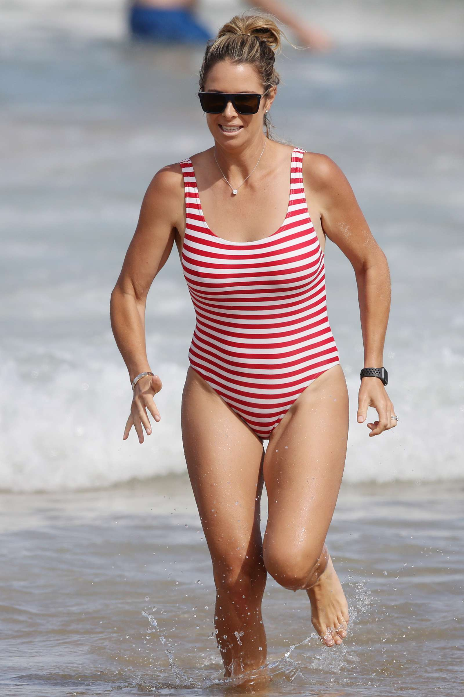 Candice Warner 2019 : Candice Warner in Red and White Swimsuit 2019 -11
